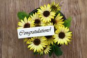 picture of congratulations  - Congratulations card with yellow daisies on wooden surface - JPG