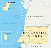 image of guinea  - Equatorial Guinea Political Map with capital Malabo - JPG