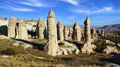 stock photo of chimney rock  - Picturesque landscape with Fairy chimneys Cappadocia in Turkey - JPG