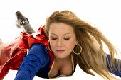 picture of short-story  - A super hero with her hair blowing looking down - JPG