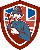 foto of truncheon  - Illustration of a British London bobby police officer policeman man wielding truncheon or baton also called cosh billystick billy club nightstick sap stick set inside shield crest with Union Jack flag in background done in retro style - JPG