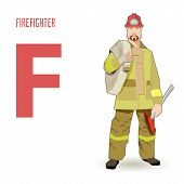 stock photo of firehose  - flat vector profession Letter F  - JPG