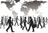stock photo of person silhouette  - A population of global people silhouettes walk under world map - JPG