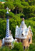picture of gaudi barcelona  - Views from the Parc Guell designed by Antoni Gaudi Barcelona Spain - JPG