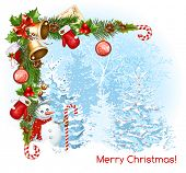picture of candy cane border  - Decorative border from with traditional  Christmas objects - JPG