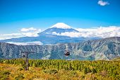 stock photo of ropeway  - Ropeway and view of Mountain Fuji from Owakudani - JPG