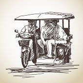stock photo of rickshaw  - Sketch of tricycle moto taxi with tourist Hand drawn vector illustration - JPG