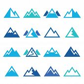 image of mountain-high  - Vector icons set of mountain landscape isolated on white - JPG