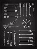picture of arrowhead  - Set of Simple Hand Drawn Arrows on Chalkboard Graphic Design - JPG