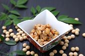 stock photo of soybeans  - studio shot of japanese traditional soybean food - JPG