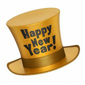 picture of top-hat  - 3D render of a golden Happy New Year top hat with shiny metallic flakes style surface  - JPG