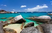 stock photo of virgin  - Stunning beach with white sand - JPG