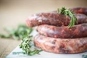 image of raw chicken sausage  - home hepatic raw sausage with rosemary on a table - JPG
