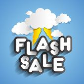 image of flashing  - Flash Sale Design With Clouds And Thunders vector illustration - JPG
