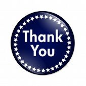 stock photo of thankful  - Thank You Button A blue and white button with words Thank You isolated on a white background - JPG