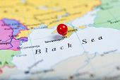 stock photo of sevastopol  - Map of Europe with a round red push pin placed on the city of Sevastopol on Crimea - JPG