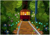 stock photo of tram  - The tram is moving in the middle of the magic forest - JPG