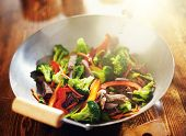 stock photo of chinese wok  - chinese stir fry in wok with beef and vegetables - JPG
