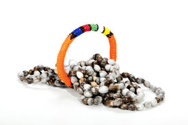 image of zulu  - coiled zulu beaded necklace with bright orange armband - JPG