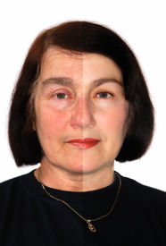 stock photo of wrinkled face  - Portrait of a woman showing extreme retouching - JPG