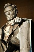 stock photo of abraham lincoln memorial  - Interior of Lincoln Memorial shot in late afternoon - JPG