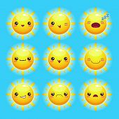foto of kawaii  - Funny cartoon sun with different emotions - JPG