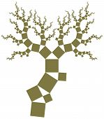 stock photo of pythagoras  - Vector illustration of some variant of Pythagoras tree - JPG
