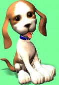 picture of augen  - a cute little dog in toon style sitting and watching - JPG