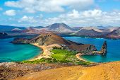 foto of pacific islands  - View of two beaches on Bartolome Island in the Galapagos Islands in Ecuador - JPG