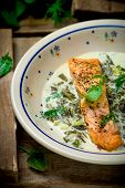 pic of sorrel  - salmon with sauce from a sorrel - JPG