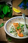 image of sorrel  - salmon with sauce from a sorrel - JPG