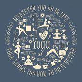 stock photo of pranayama  - Yoga background with yogic quote - JPG