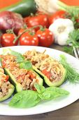 stock photo of ground-beef  - delicious fresh stuffed zucchini with ground beef and cheese - JPG