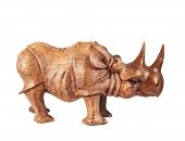 pic of rhino  - Rhinoceros rhino sculpture made of carved brown wood isolated over white background - JPG
