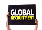 stock photo of recruiting  - Global Recruitment card isolated on white - JPG