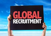 stock photo of recruiting  - Global Recruitment card with beach background - JPG