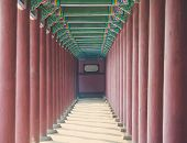 image of south-pole  - Row of Poles around Exterior of Gyeongbokgung famous historic place in South Korea - JPG