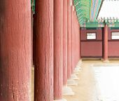 foto of south-pole  - Row of Poles inside Gyeongbokgung Palace Famous historic place in Seoul South Korean - JPG