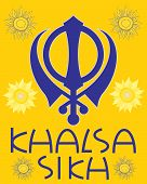 picture of khanda  - an illustration of a sikh greeting card with military emblem sunflowers and the words khalsa sikh in blue with a saffron background - JPG
