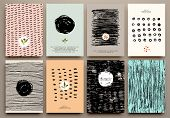 stock photo of dots  - Set of Vintage Creative Cards with Hand Drawn Hipster Textures Made with Ink - JPG
