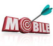 picture of bulls  - Mobile word in red 3d letters and an arrow targeting a bulls - JPG
