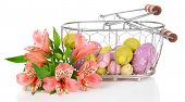 picture of easter basket eggs  - Easter composition with Easter eggs in basket and flowers - JPG