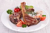 picture of lamb chops  - roasted lamb chop - JPG