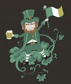foto of leprechaun  - Leprechaun with flag holding a mug of beer in the other hand - JPG