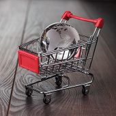 picture of trolley  - glass globe in the shopping trolley global market concept - JPG