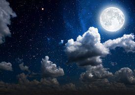 picture of moonlight  - backgrounds night sky with stars and moon and clouds - JPG