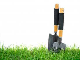 picture of spade  - Fork and spade gardening hand tools on the green grass isolated on white background - JPG