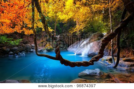 Tropical waterfall flows through dense jungle forest and falls into wild pond, Amazing beauty of Asian nature. Tropical waterfall flows through dense jungle forest and falls into wild pond