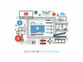 Viral Video Production Flat Line Illustration poster