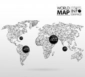 World map background in polygon poster
